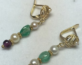 Vintage 14k yellow gold emerald,amethyst and pearl earrings