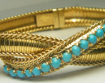 Vintage  18k yellow gold Turquoise ladies bracelet ladies bracelet