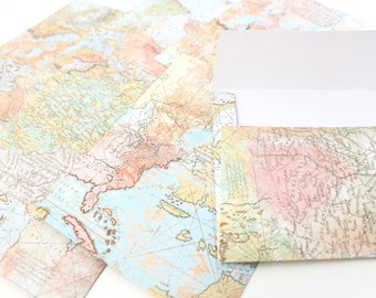 Soft Pastel Atlas Globe World Map Handmade Mailing Snailmail Penpal Envelopes Spring Summer