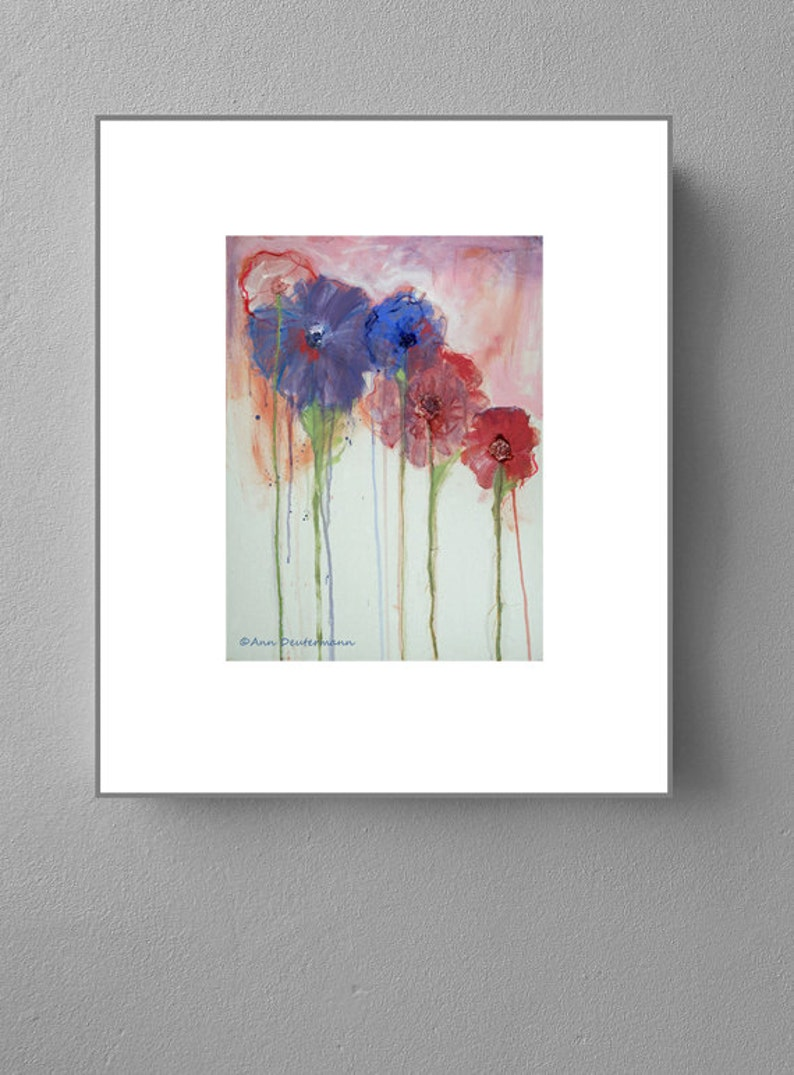 pink and blue poppies FREE US SHIPPING shabby chic flower greeting cards
