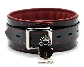 Bdsm Vegan Locking Collar Faux Lambskin Bondage Collar Bdsm Submissive Collar oddo leather
