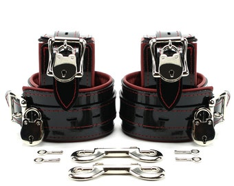 Vegan 2'' Lockable Cuff Set PVC Leather BDSM Restraints  Red Stitched Red Faux Leather Lined FREE Lock oddo leather