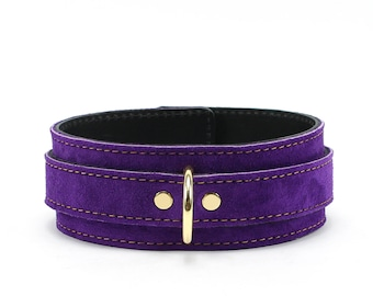 Bondage Collar, Leather Collar, bdsm collar, slave collar, purple leather collar, suede choker, purple bondage collar oddo leather