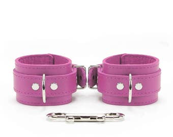 Bdsm Red Leather Restraints  2'' Bondage Cuffs Purple Stitched oddo leather