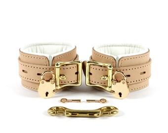BDSM Cuffs  2'' Padded Bondage Cuffs with Lockable Buckles oddo leather