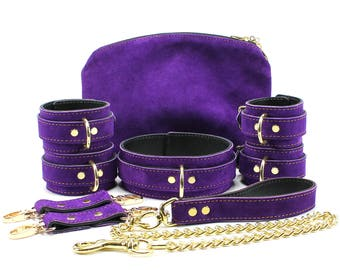 Bdsm Collar 7 Piece Leather Suede Set 2'' Bondage cuffs Slave Collar Submissive Collar Bdsm Bracelets Bdsm Collar oddo leather