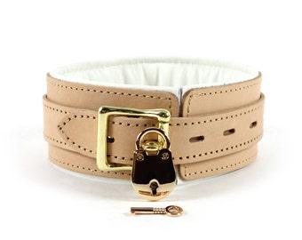Bdsm Locking Collar  Leather  2'' Bondage Collar Submissive Locking Collar Slave Collar oddo leather