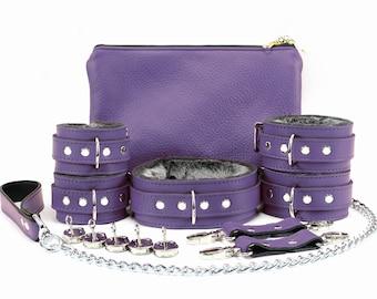 Bdsm Collar 7 Piece Leather Set  2'' Bondage cuffs Slave Collar Submissive Collar Bdsm Bracelets Bdsm Collar oddo leather