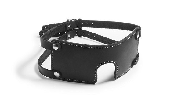 BLINDFOLD FAUX LEATHER WITH D RING AND SOFT INSIDES UK BASED FAST POST