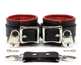 Leather Restraints Bondage 2'' Padded Cuffs with Lockable buckles FREE LOCKS oddo leather