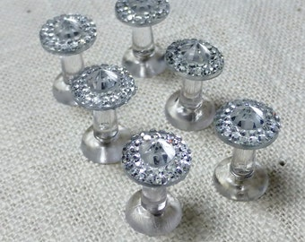 Fancy Clear Jeweled Push Pins