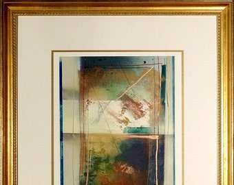 Exquisite Rare ca.1980 Dennis Frings Abstract Watercolor Painting w/Matted Frame