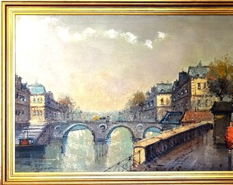 Rare ca.1945 French School Paris Seine River Banks Painting Oil/Canvas/Frame Signed