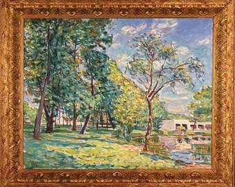 Superb ca.1987 Pennsylvania Park Pond Oil Painting on Masonite w/Frame Signed