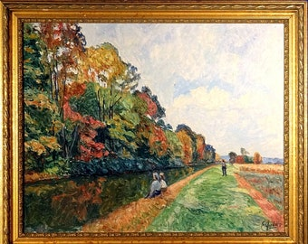 Superb ca.1971 Delaware Canal w/People Oil Painting on Masonite w/Frame Signed