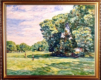 Superb ca.1991 PA Park w/People & House Oil Painting on Masonite w/Frame Signed