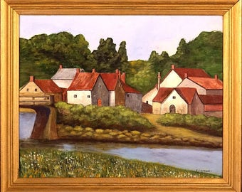 Superb ca.1975 English Village by the River Painting Oil/Canvas/Frame Signed