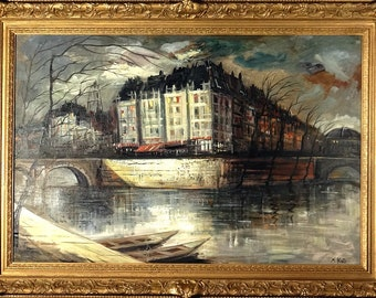 Superb ca.1965 Paris Seine River Banks Street Scene Painting Oil/Canvas/Frame