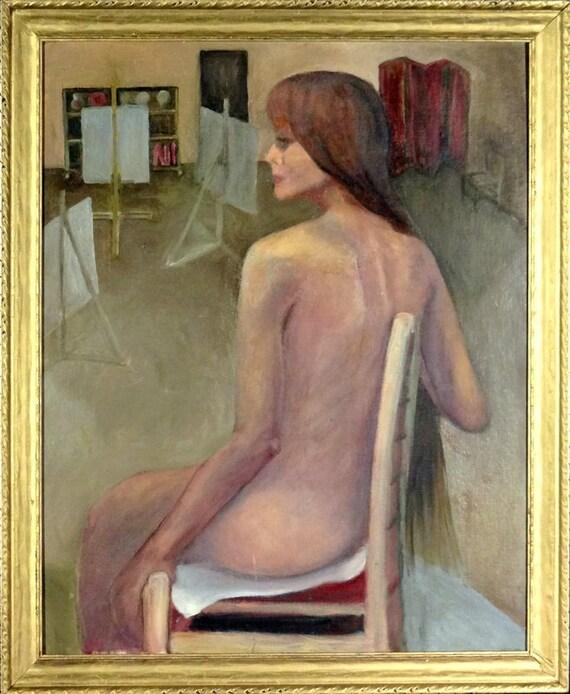 Excelente ca.1970 joven modelo desnuda en arte estudio pintura | Etsy