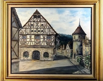 Superb ca.1950 Listed Artist Alsace Village Painting Oil/Canvas/Frame
