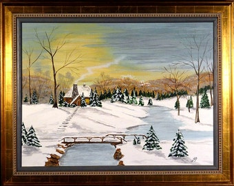 Superb ca.1970 Snowy Winter Scene Oil Painting w/Frame Artist Signed