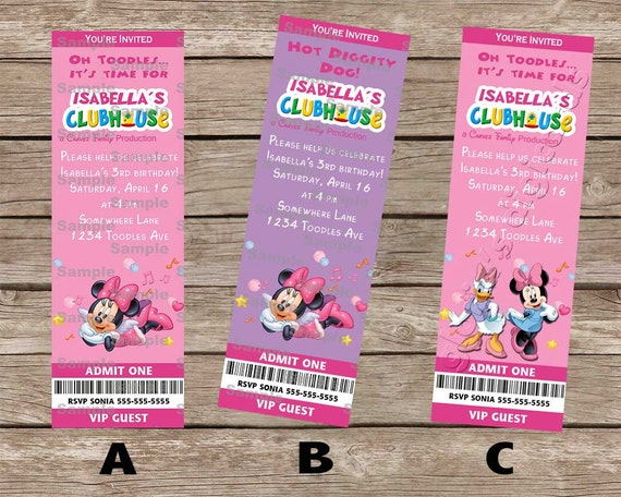 Minnie Mouse Ticket Invitation By Gloria S Digi Cards On Etsy By