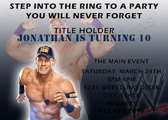 Wwe John Cena Wrestling Birthday Party Invitation By Glorias Digi