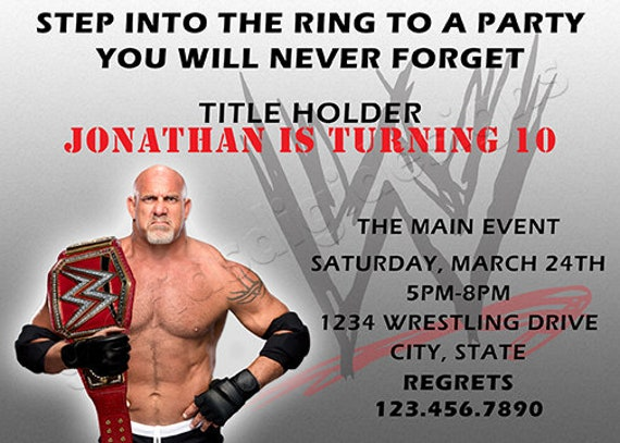 Wwe Goldberg Wrestling Birthday Party Invitation By Glorias Digi