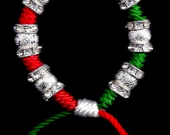 Bracelet: Christmas (Red, White & Green), with Stardust Beads and Crystal Spacers
