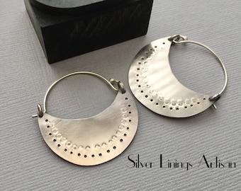 Sterling Silver, Hoop Earrings, Tribal, Hand Forged, Textured Hoops, Contemporary, Crescent, Artisan Hoop earrings