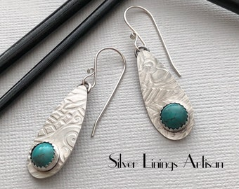 Artisan Earrings, Sterling Silver, Turquoise Teardrops, Dangle Earrings, Hand Fabricated, Floral Design, Metalsmith, Artisan Jewelry
