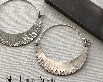 Large Crescent Moon Hoop Earrings, Sterling Silver, Artisan Earrings, Hand Fabricated, Tribal, Textured, Metalsmith, Artisan Jewelry