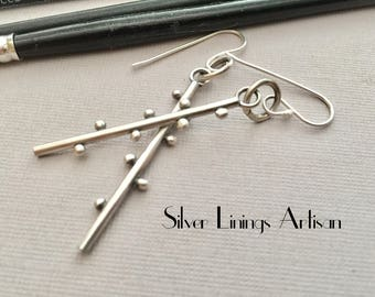 Sterling Silver, Stick Style Earrings, Fine Silver Orbs, Artisan Earrings, Drop Earrings, Dangle Earrings, Hand Fabricated, Metalsmith