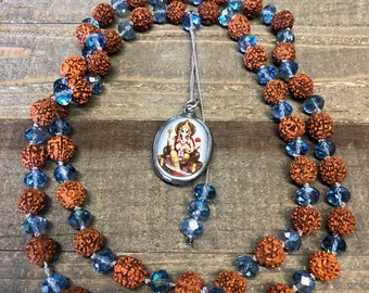 Receiving Blessings & Overcoming Obstacles, Rudraksha Seed and Crystal Ganesha Pendant - Hand Knotted Necklace