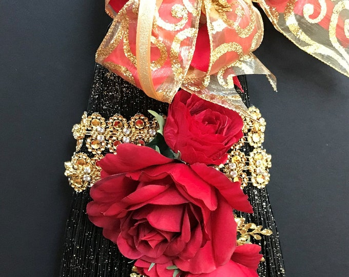 Exquisite Jump Broom in Scarlet, Black, and Gold