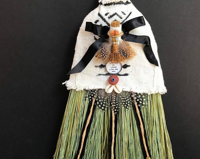 Stunning White Mud Cloth Wedding Broom