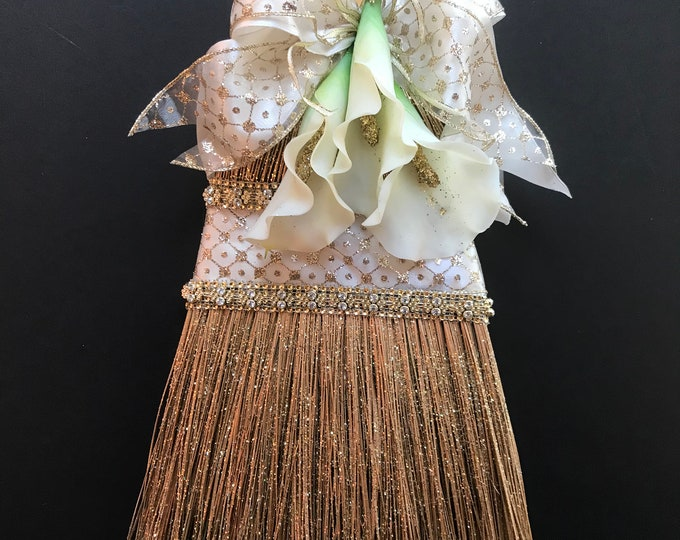 White and Gold Wedding Broom with Calla Lilies