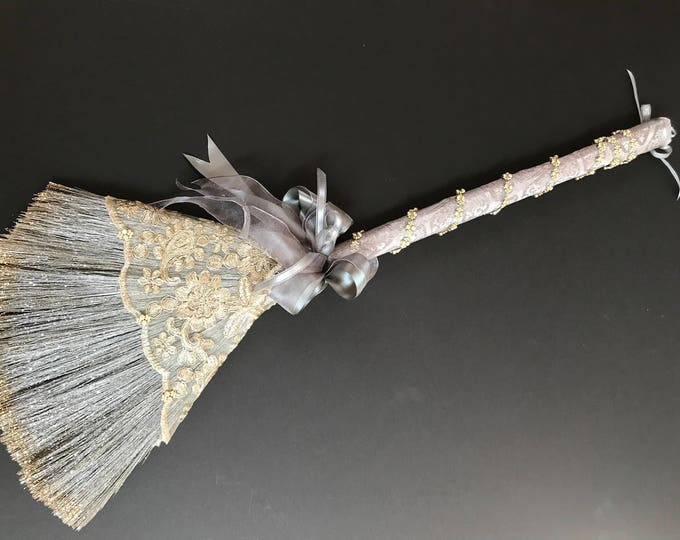 Gold and Pewter Sweet Grass Wedding Broom