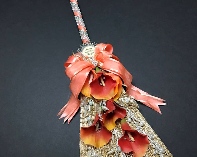 New Coral and Gold Wedding Broom with Calla Lilies
