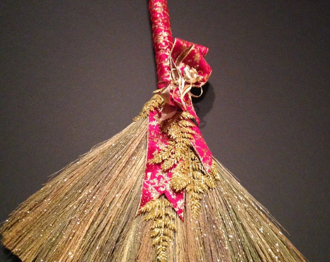 WEDDING BROOM with Holiday Red and Gold Velvet