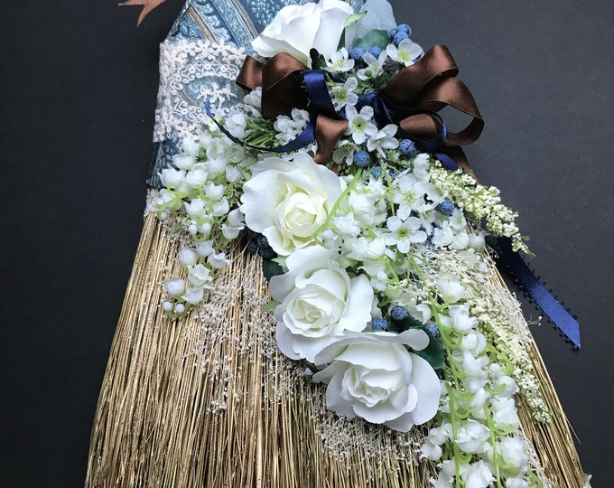 Floral Wedding Broom with Paisley Wrap and French Lace