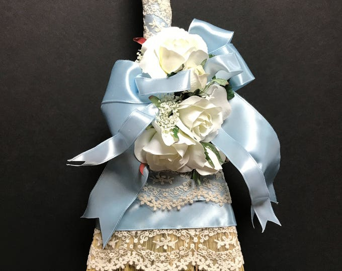 Petite Blue Wedding Broom with French Lace and Roses
