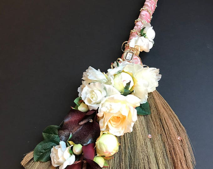 Sweet Grass Wedding Broom with Peonies, Roses, and Callas