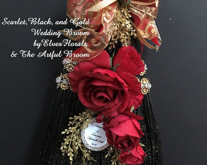 Scarlet, Black and Gold Wedding Broom