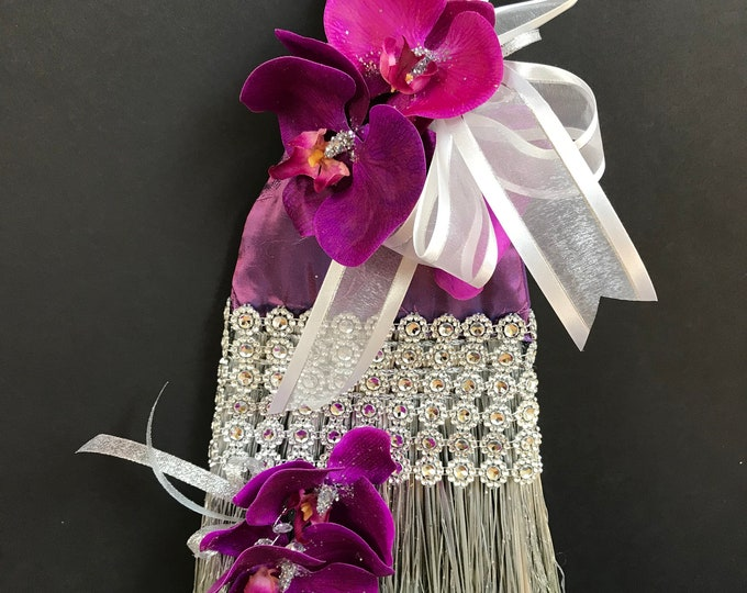 Royal Purple Wedding Broom with Orchids