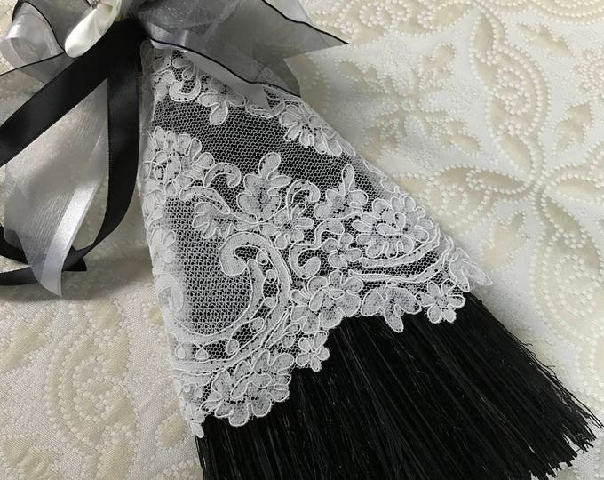 Chic Black and White Wedding Broom with Lace and Pearls