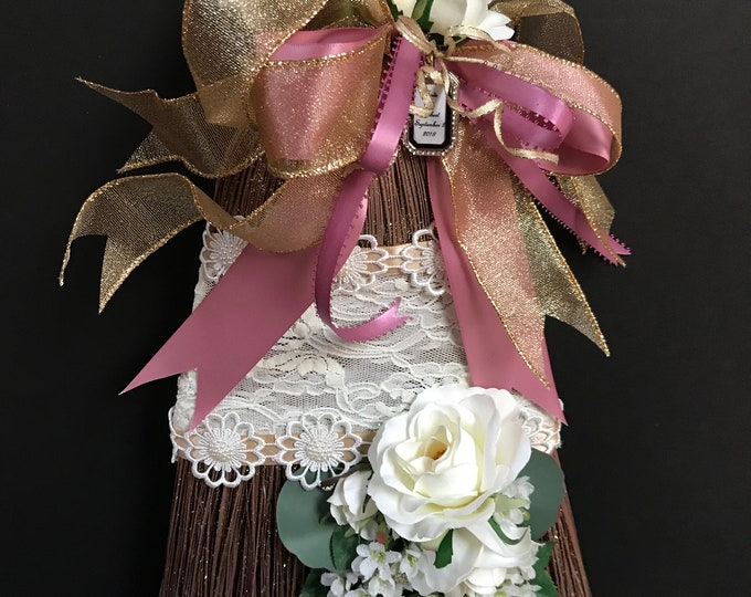 Rose Gold Wedding Broom with Lace and White Roses