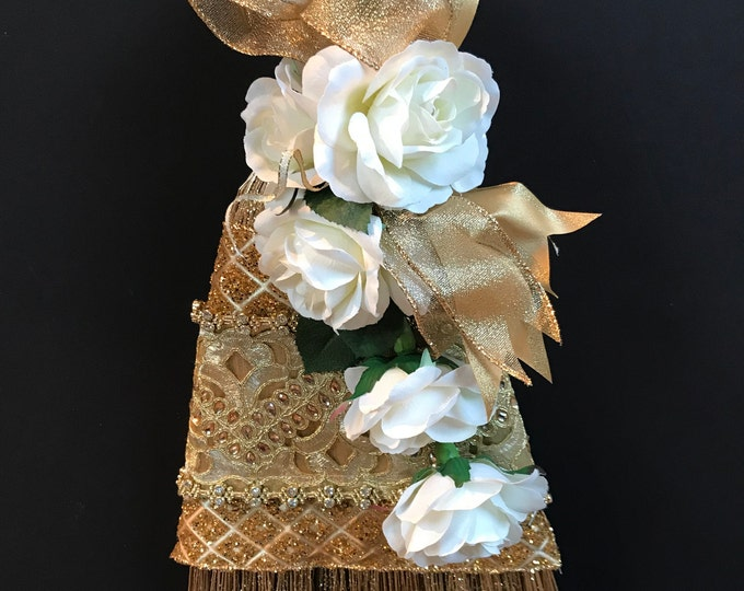 Golden Beauty Wedding Broom with White Roses