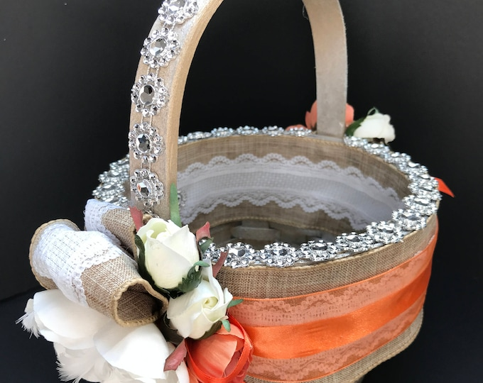 Country Garden Flower Girl's Basket with Lace