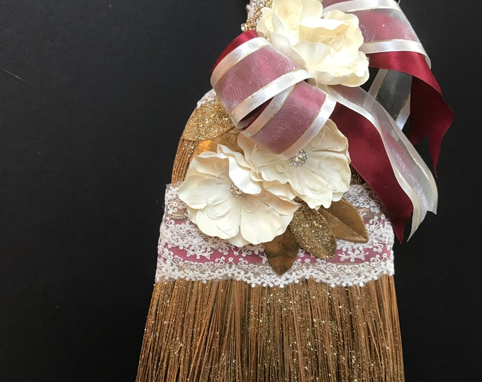 Wedding Broom with French Lace and Burgundy and Cream Accents
